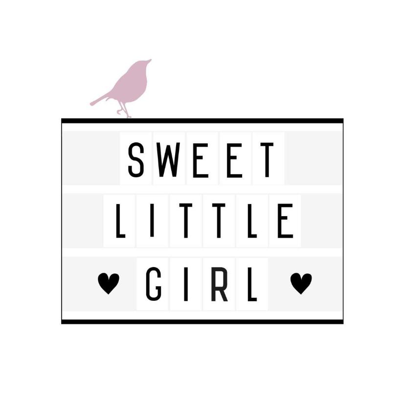Felicitatiekaarten - Felicitatie-Lightbox,girl, vogel