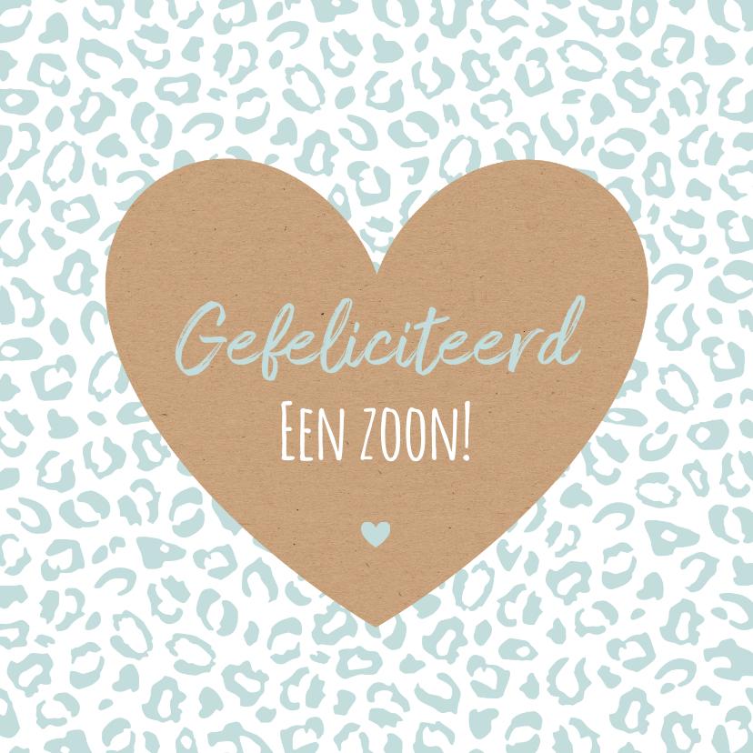 Felicitatiekaarten - Felicitatie - Luipaardprint met groot kraft hart