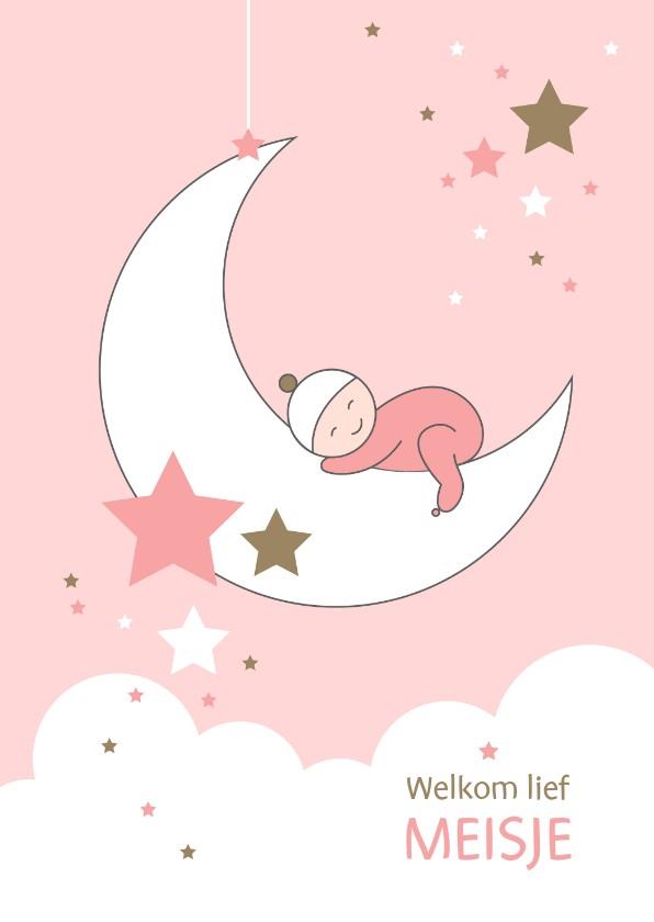 Felicitatiekaarten - Felicitatie - Maan, sterren en slapend meisje