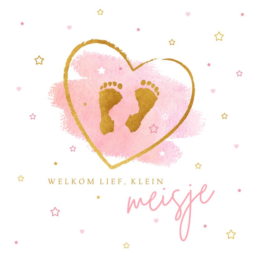 Felicitatiekaarten - Felicitatie meisje baby voetjes roze