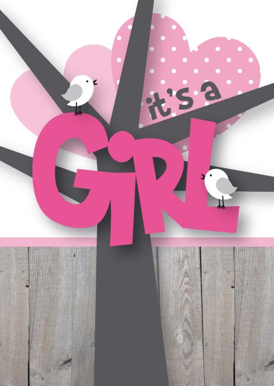 Felicitatiekaarten - Felicitatie meisje happy birds
