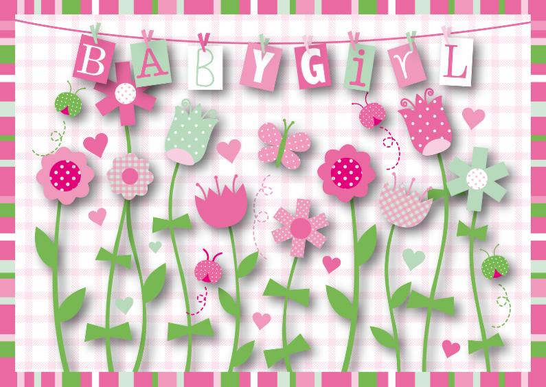 Felicitatiekaarten - Felicitatie meisje happy flowers