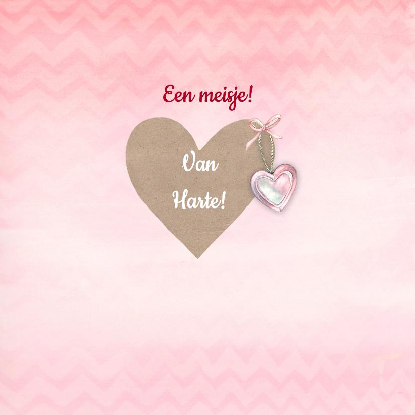 Felicitatiekaarten - Felicitatie meisje hart chevron