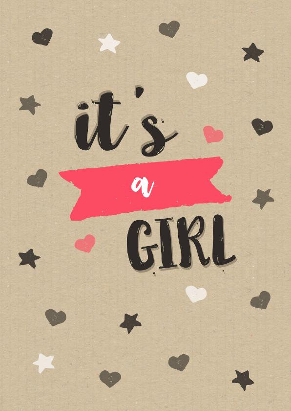 Felicitatiekaarten - Felicitatie meisje kraft hartjes