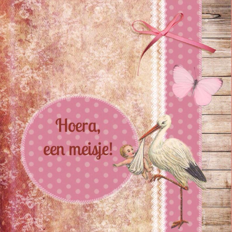 Felicitatiekaarten - Felicitatie meisje ooievaar roze