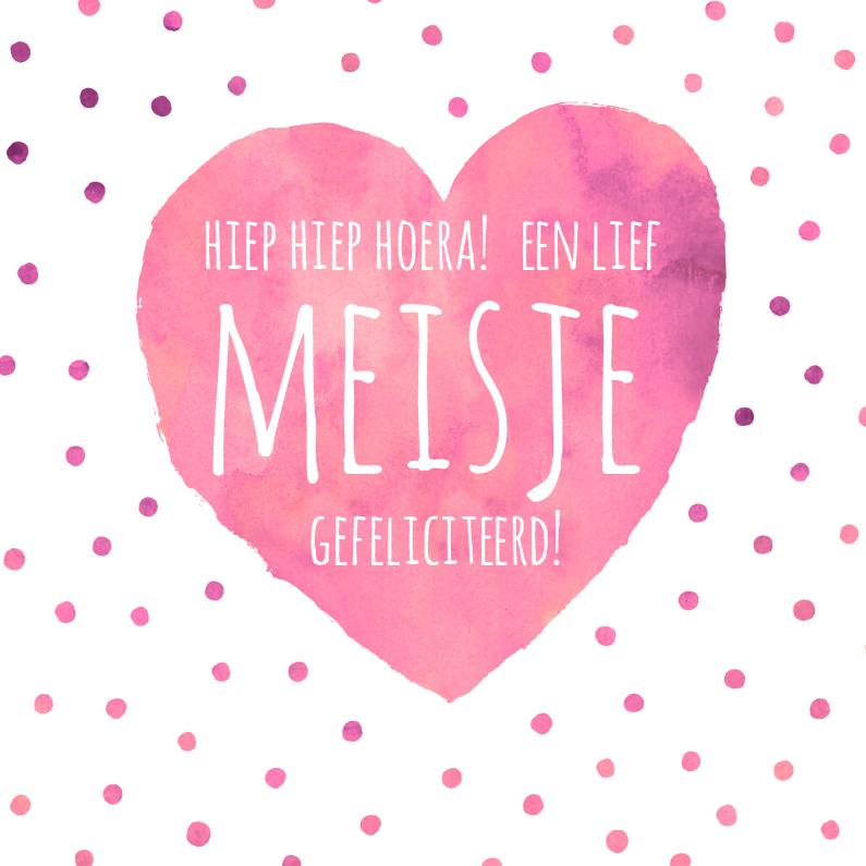 Felicitatiekaarten - Felicitatie meisje roze hart