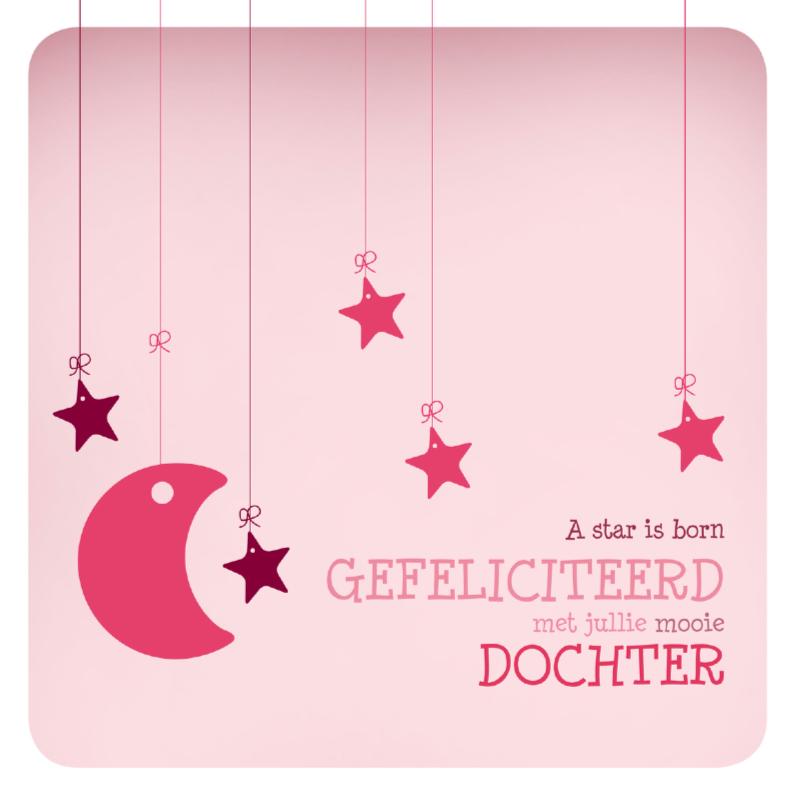 Felicitatiekaarten - Felicitatie meisje ster 1