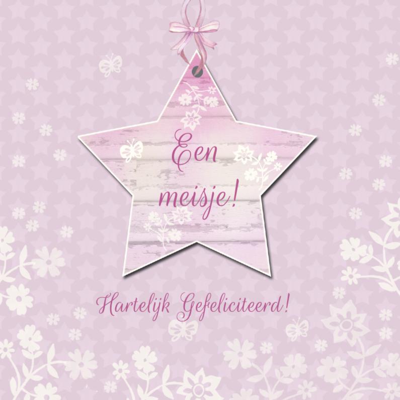 Felicitatiekaarten - Felicitatie meisje ster bloemen