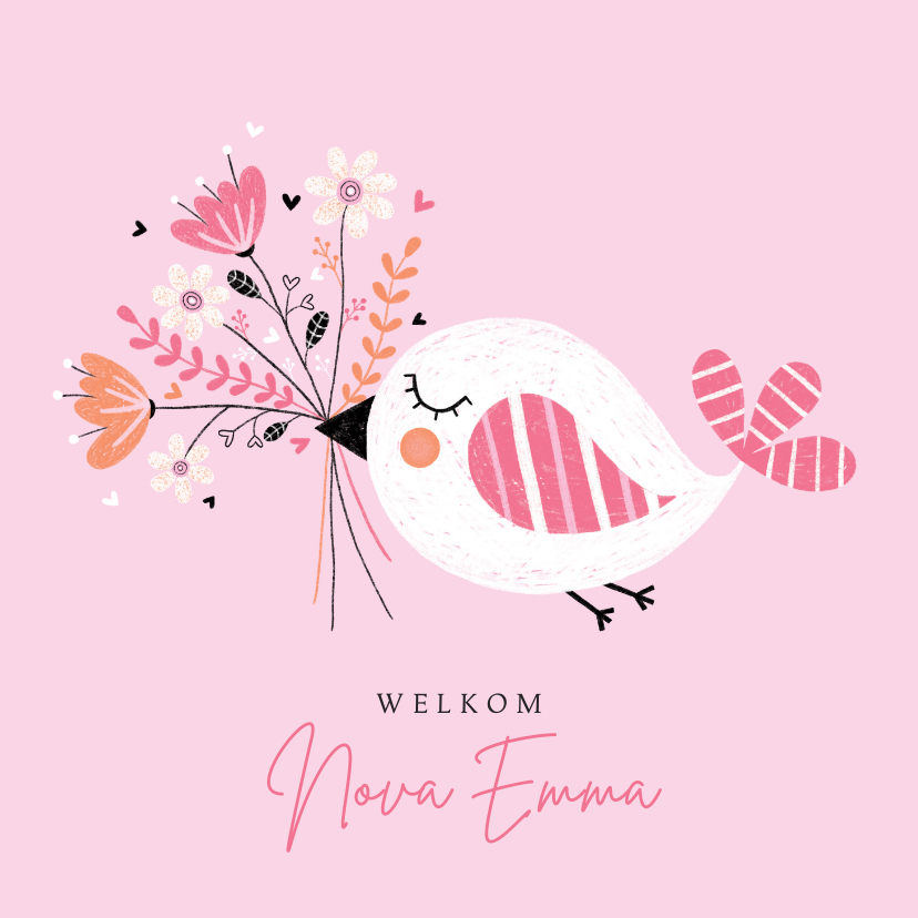 Felicitatiekaarten -  Felicitatie meisje vogel bloemen roze