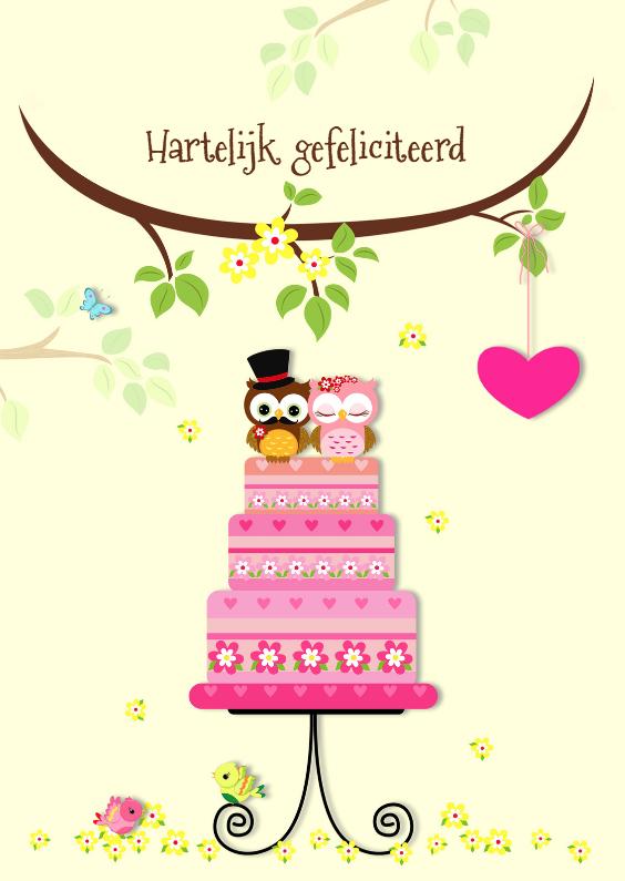 Felicitatiekaarten - Felicitatie met bruidstaart