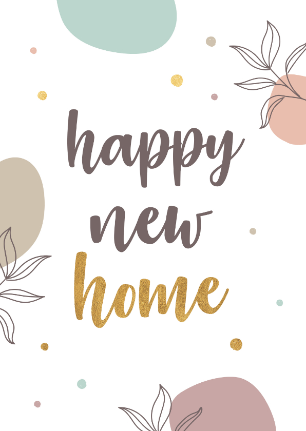 Felicitatiekaarten - Felicitatie nieuwe woning gouden stippen