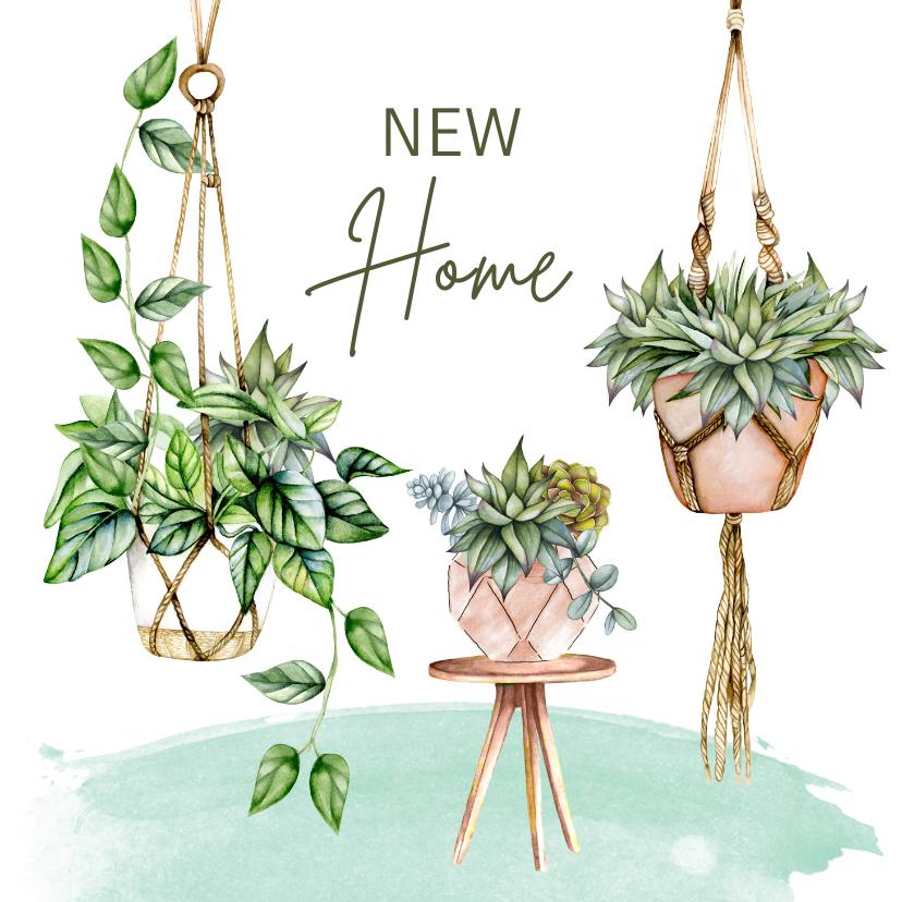 Felicitatiekaarten - Felicitatie nieuwe woning hangplanten