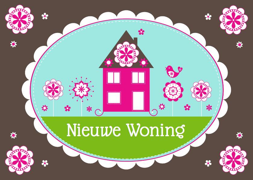 Felicitatiekaarten - Felicitatie nieuwe woning huisje bloemen - LB