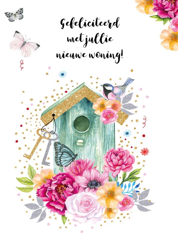 Felicitatiekaarten - Felicitatie nieuwe woning vogelhuisje