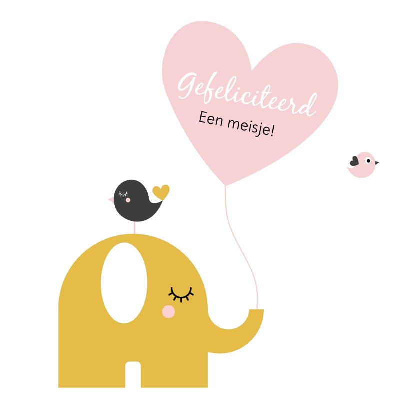 Felicitatiekaarten - Felicitatie - Olifant met hartjes ballon