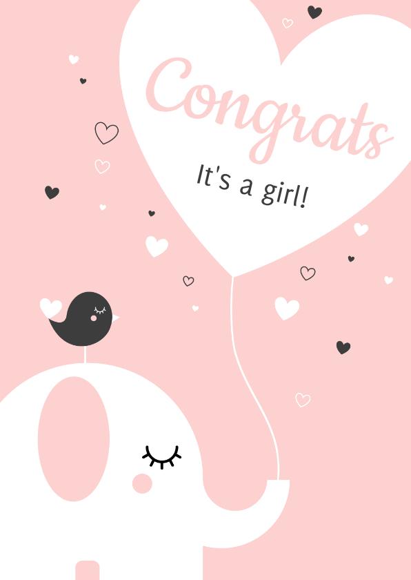 Felicitatiekaarten - Felicitatie - Olifantje met hartjes ballon