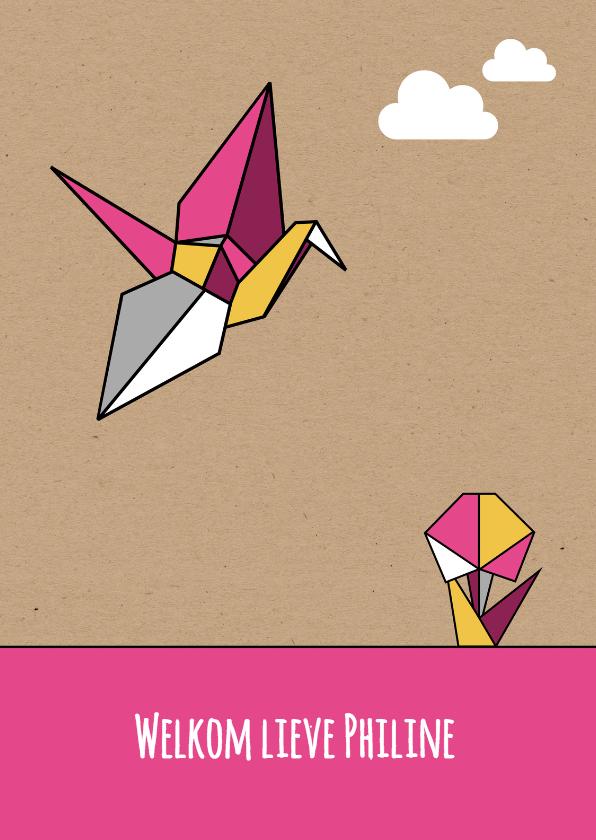 Felicitatiekaarten - Felicitatie origami vogel meisje