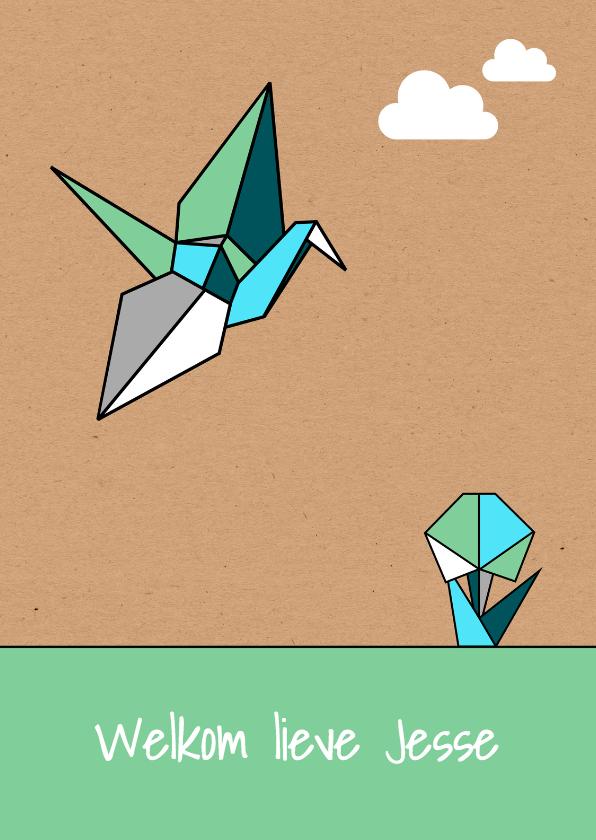 Felicitatiekaarten - Felicitatie origami vogel zoon