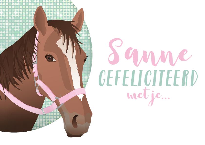 Felicitatiekaarten - Felicitatie paard divers roze bling