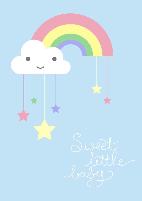 Felicitatiekaarten - Felicitatie - Pastel regenboog sterren zoon