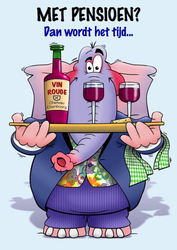 Felicitatiekaarten - Felicitatie pensioen olifant met dienblad wijn