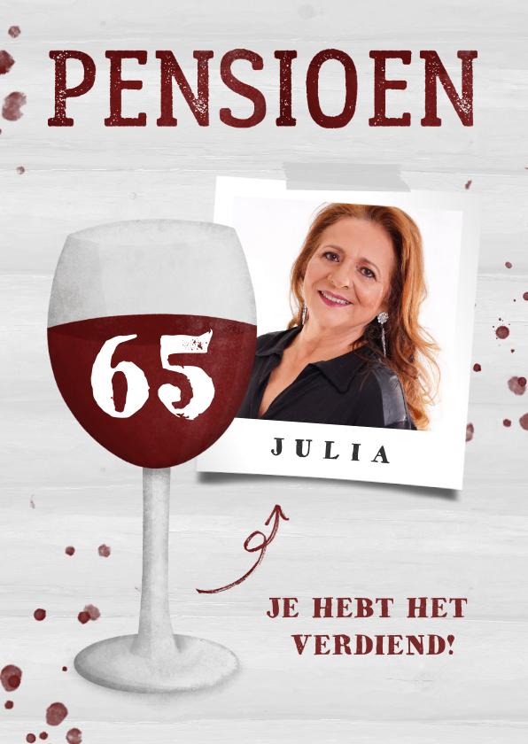 Felicitatiekaarten - Felicitatie pensioen wijnglas met foto en leeftijd