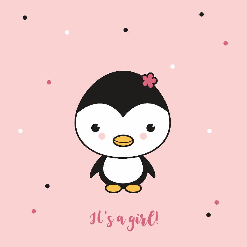 Felicitatiekaarten - Felicitatie - Pinguïn meisje