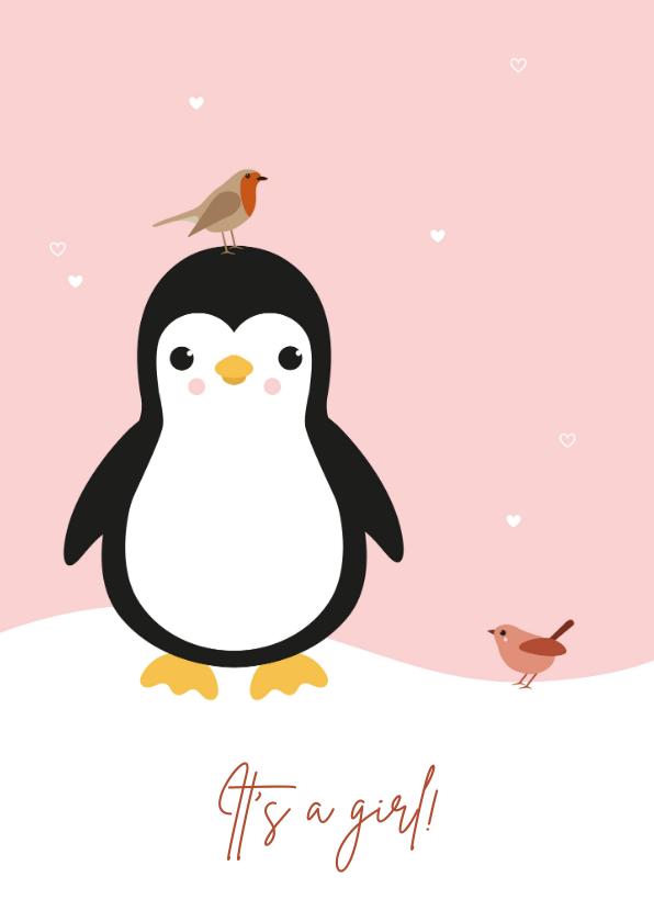 Felicitatiekaarten - Felicitatie - Pinguïn met vogeltjes