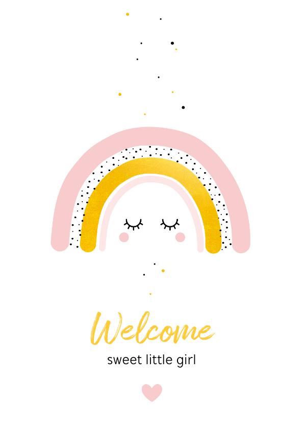 Felicitatiekaarten - Felicitatie - Regenboog met goud en oogjes