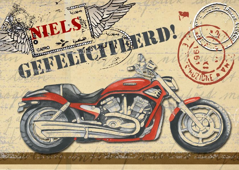 Felicitatiekaarten - felicitatie rode motor