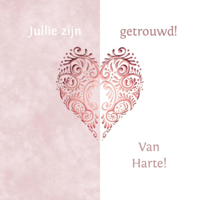 Felicitatiekaarten - Felicitatie roze hart huwelijk