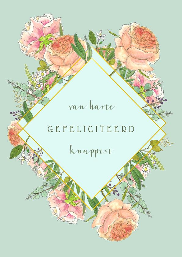 Felicitatiekaarten - Felicitatie rozen en eucalyptus