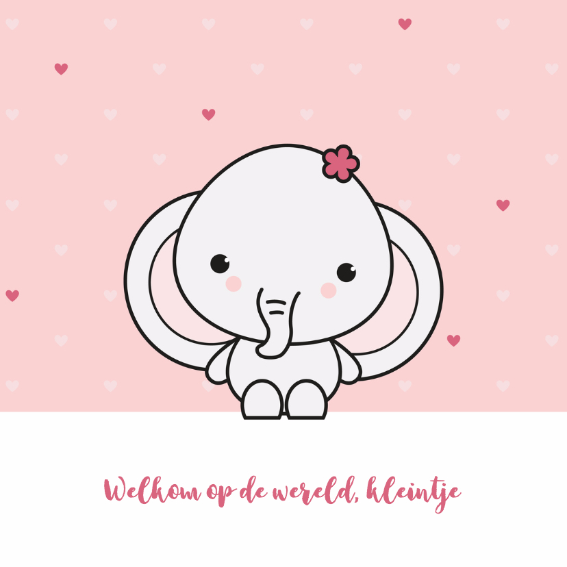 Felicitatiekaarten - Felicitatie - Schattig olifantje meisje