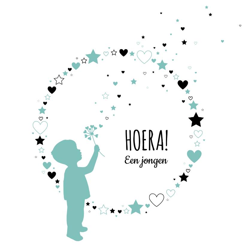 Felicitatiekaarten -  Felicitatie - Silhouet jongen, cirkel van harten en sterren