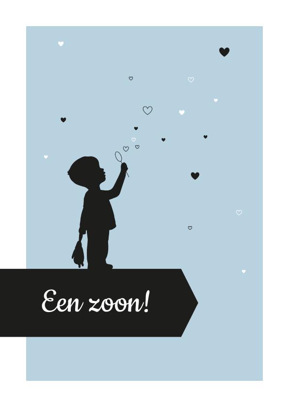Felicitatiekaarten - Felicitatie - Silhouet jongen met hartjes