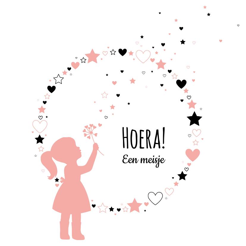 Felicitatiekaarten - Felicitatie - Silhouet meisje, cirkel van hartjes en sterren