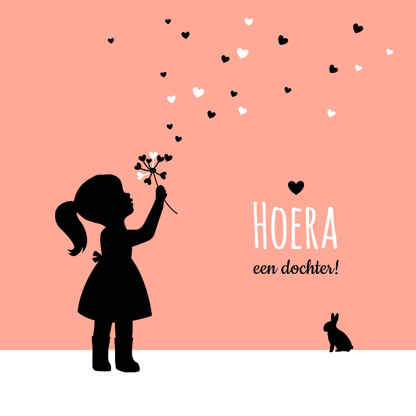 Felicitatiekaarten - Felicitatie - Silhouet meisje met bloem