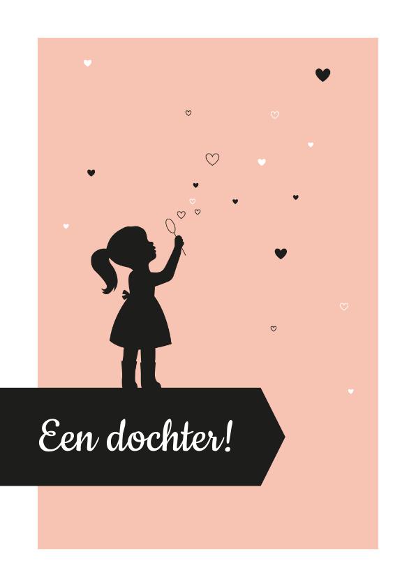 Felicitatiekaarten - Felicitatie - Silhouet meisje met hartjes