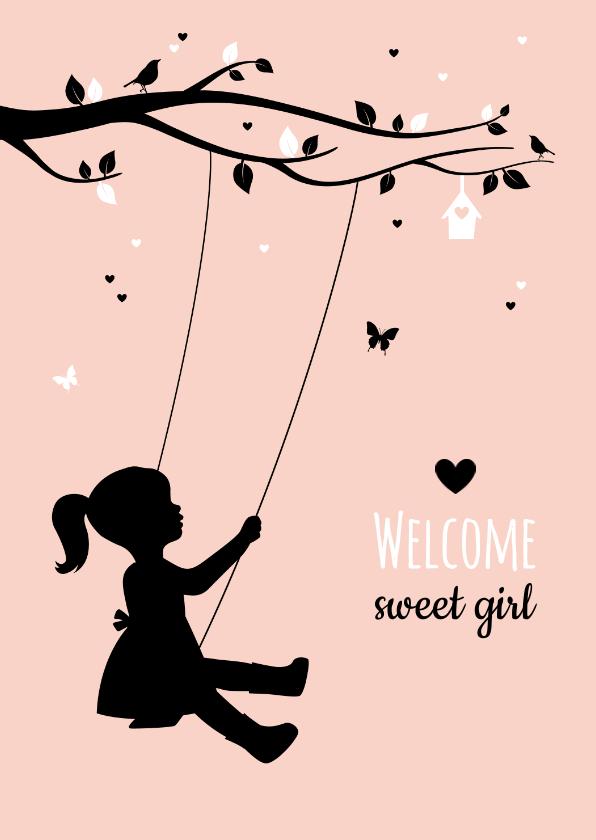 Felicitatiekaarten - Felicitatie - Silhouet van meisje op schommel