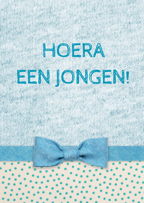 Felicitatiekaarten - Felicitatie strik geboorte blauw