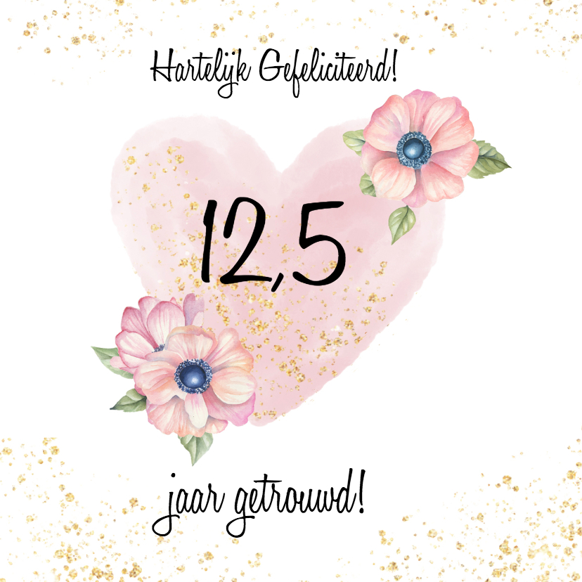 Felicitatiekaarten - Felicitatie trouwdag hart bloemen