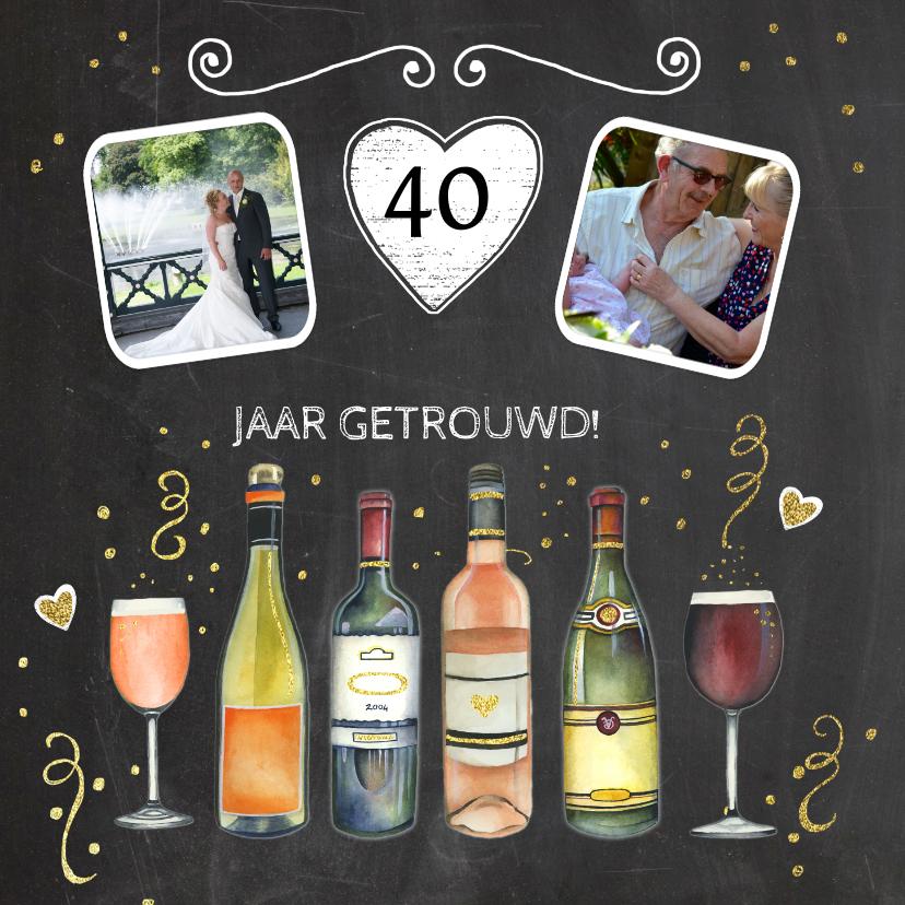 Felicitatiekaarten - Felicitatie trouwdag wijn