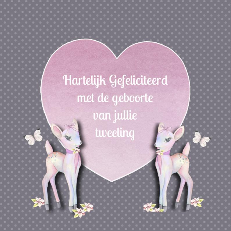Felicitatiekaarten - Felicitatie tweeling bambi girl