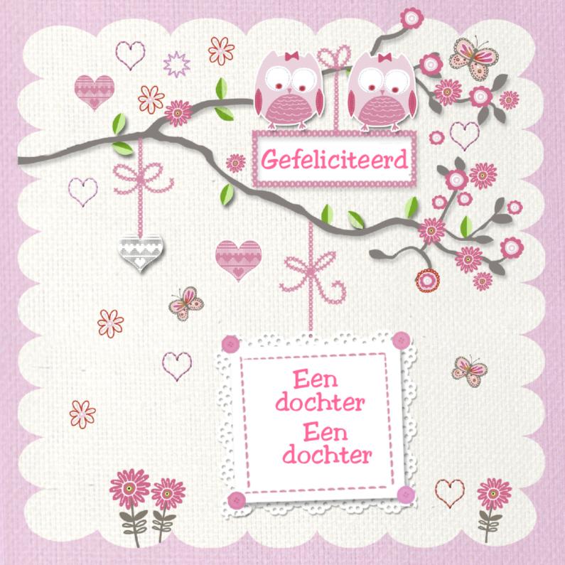 Felicitatiekaarten - felicitatie tweeling dochter uiltjes