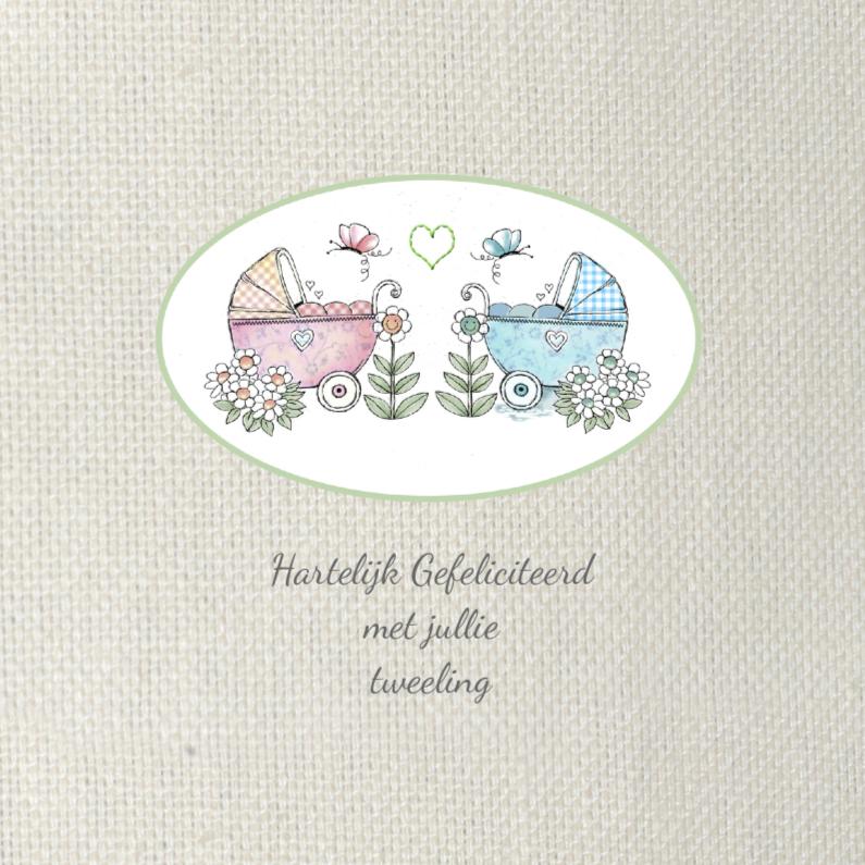 Felicitatiekaarten - Felicitatie tweeling girl en boy