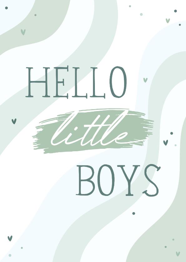 Felicitatiekaarten - Felicitatie tweeling hello little boys regenboog