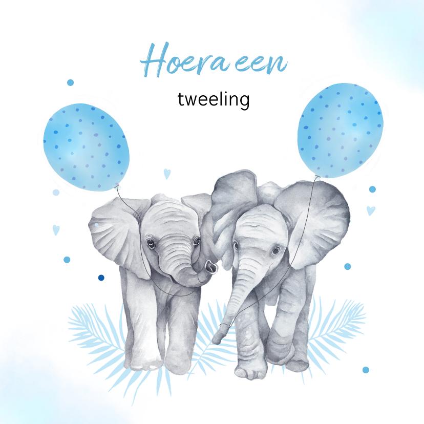Felicitatiekaarten - Felicitatie tweeling jongetjes olifantjes ballon