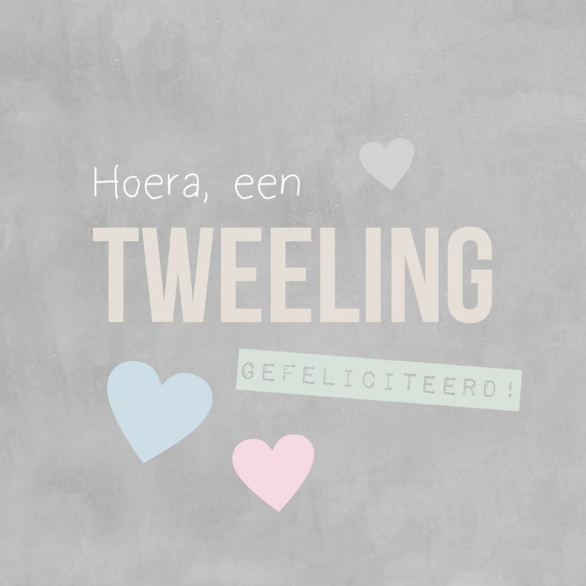 Felicitatiekaarten - Felicitatie tweeling kalk tekst