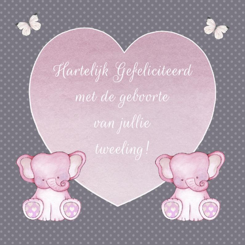 Felicitatiekaarten - Felicitatie tweeling olifantjes