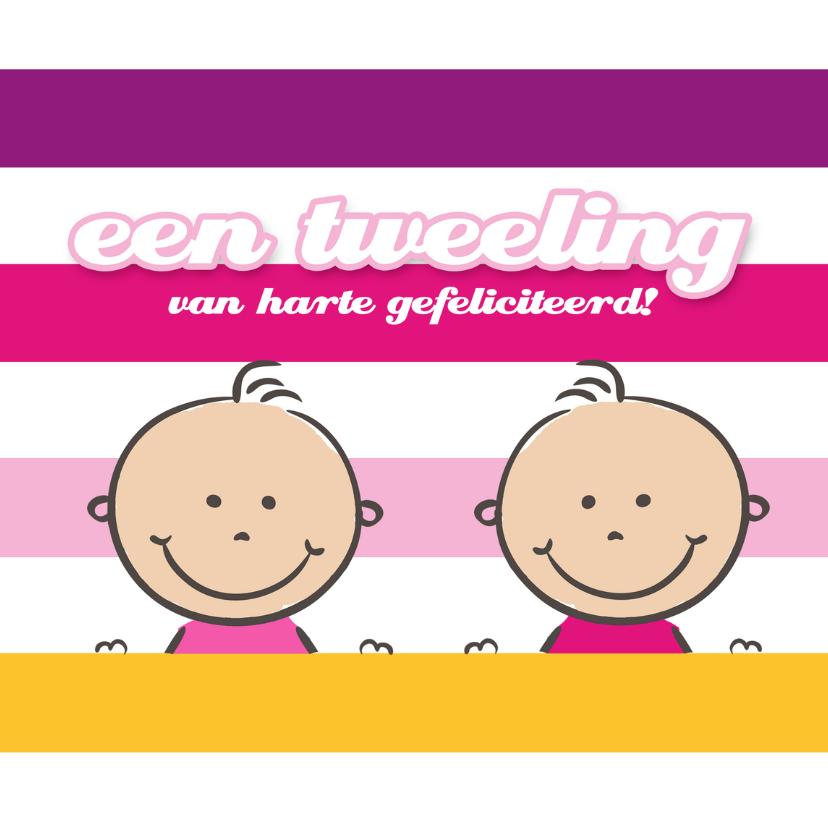 Felicitatiekaarten - Felicitatie tweeling Pinkie Puk